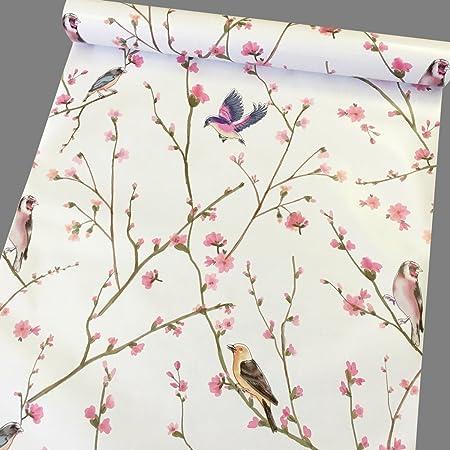 Taogift 17.7x117 Inches Self Adhesive Vinyl Vintage Floral Birds Shelf Liner Paper Wallpaper for Walls Kitchen Backsplash Cabinets Dresser Drawer Bathroom Decal Removable Waterproof