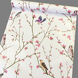 Yifely Peel & Stick Shelf Liner Removable Shelving Paper for Covering Apartment Old Nightstand Closet, Peach Birds, 17.7 Inch by 9.8 Feet