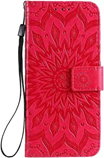 Hllycr A31 2020 Leather Flip Case Flip Kickstand Case with Card Slots Protective Cover for Oppo A31 2020 - Red