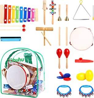 Ohuhu Kids Musical Instruments, 20 pcs Music Rhythm Percussion Set for Children Kid Toy Tambourine Xylophone, Storage Backpack Included, CPSC Approved
