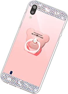 Funda Compatible con Samsung Galaxy M10/A10.Espejo Oso Anillo Lentejuela Brillo TPU Silicona Suave Carcasa Purpurina Glitt...