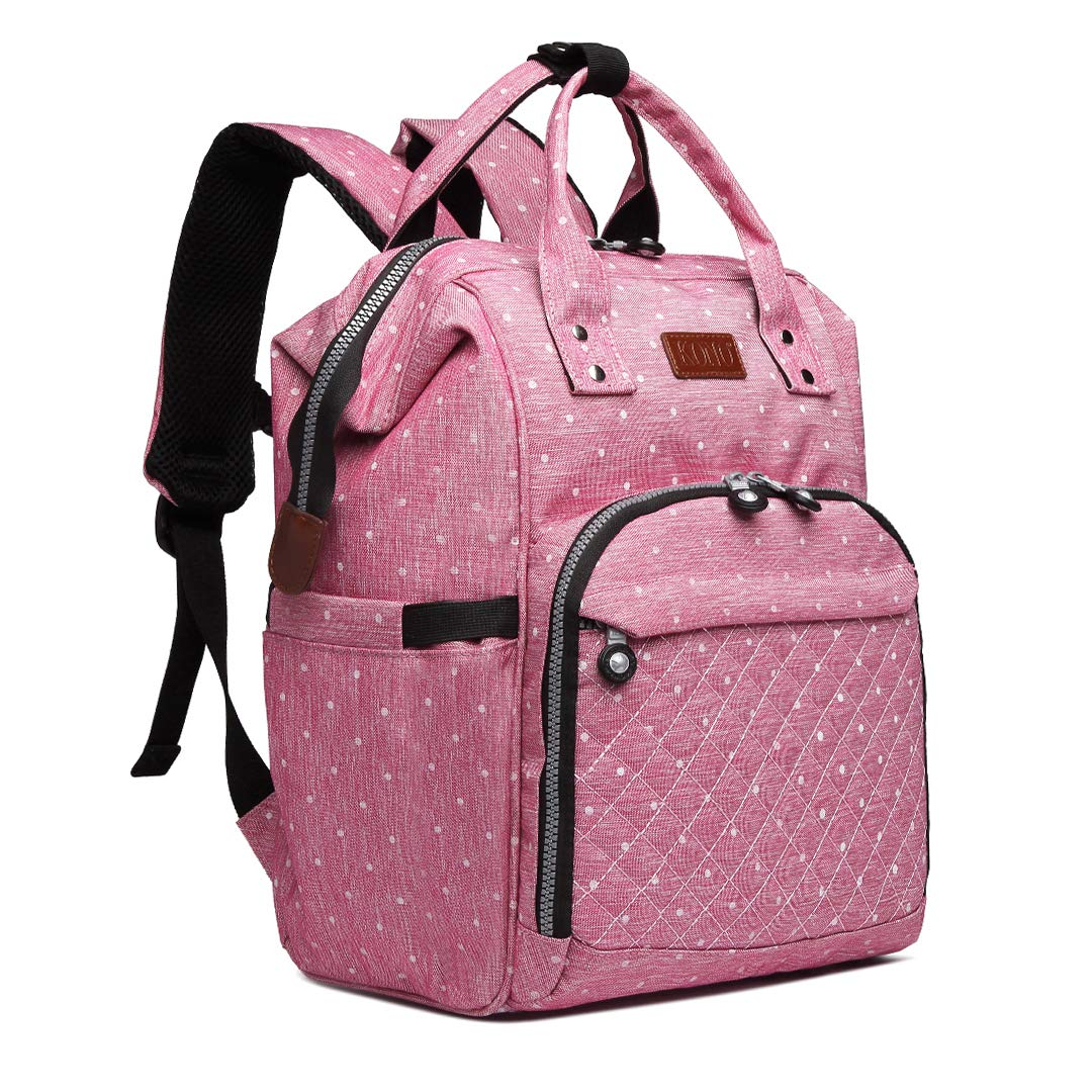 Diaper Bag Backpack with Baby Bottle Insulation, Kono Waterproof Baby Bag, Roomy Backpack for Moms Dads, Pink