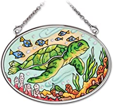 Amia 41972 4-1/4 by 3-1/4-Inch Oval Hand-Painted Glass Suncatcher, Aquatic Stamp Turtle, Small