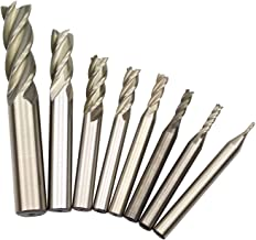 (Imperial Units, not Metric)1/16'' 1/8'' 5/32'' 3/16'' 1/4'' 5/16'' 3/8'' 1/2'' HSS 4 Flute Straight Shank Square Nose End Mill Cutter (8 Pcs)