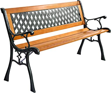 Giantex 50'' Patio Park Garden Bench, Weather Proof Porch Path Chair, 470BLS Bearing Capacity Outdoor Furniture with Wood Frame, Rugged Durable Cast Iron Structure