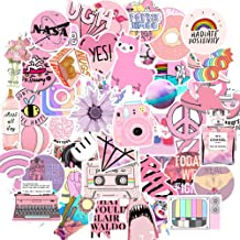 Cute Pink Stickers, 53 Pcs Teen Girl Decal Stickers for Laptop and Water Bottles,Durable Waterproof Vinyl Laptop Decal Stickers Pack for Teens, Water Bottles, Computer, Travel Case (Pink Lady)