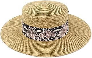 Decoration Bow Tie Hat New Women Outdoor Beach Straw Sun Hat Beach Sunshade Beach Panama Jazz Hat (Color : Khaki, Size : 56-58CM)