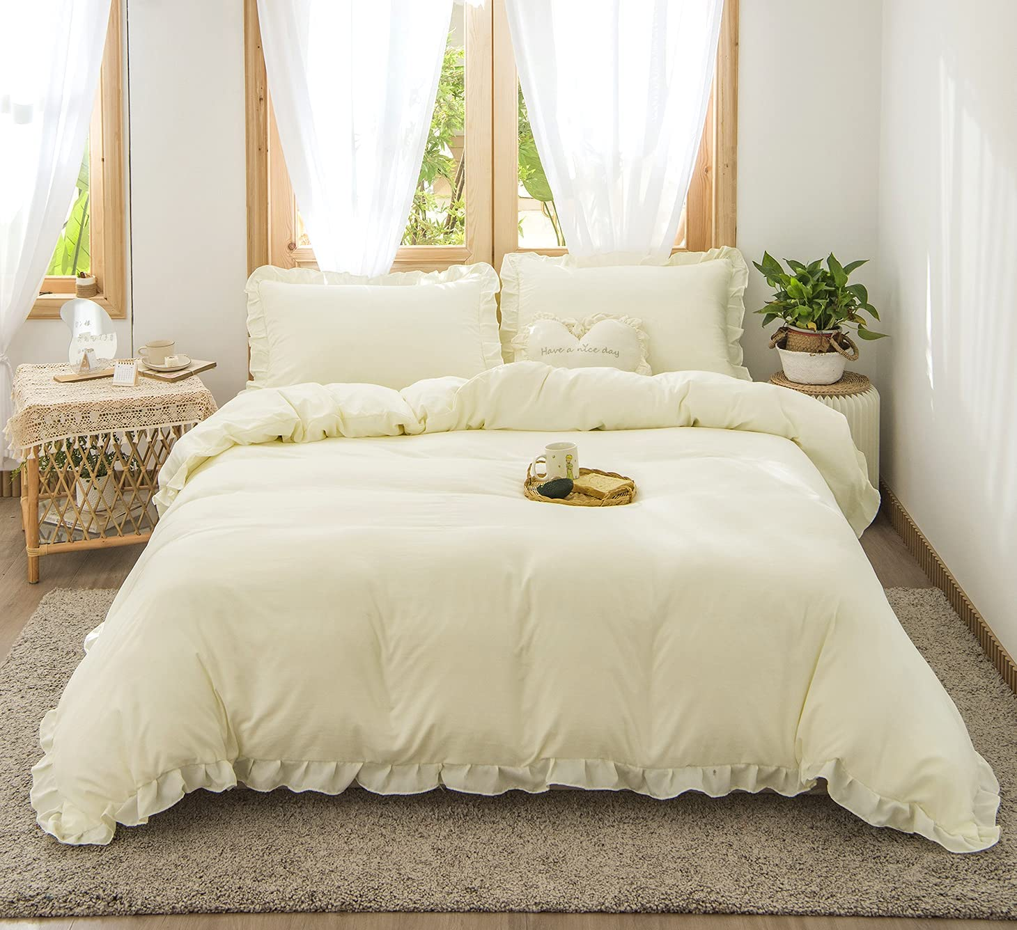 Merryword Beige Ruffle Bedding Cream Store Solid Cover Set Duvet Industry No. 1