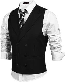 Men's Double Breasted Suit Vest,Slim Fit Business Formal Dress Waistcoat