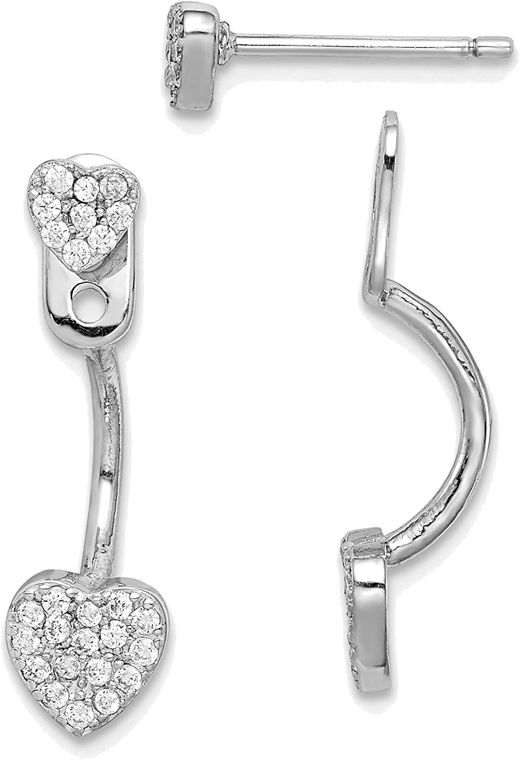 Solid Sterling Silver Rhodium-plated Jackets Heart with CZ 4 years warranty Superlatite