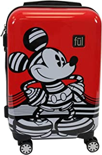 FUL Disney Striped Mickey Mouse 21in Hard Sided Luggage, Red