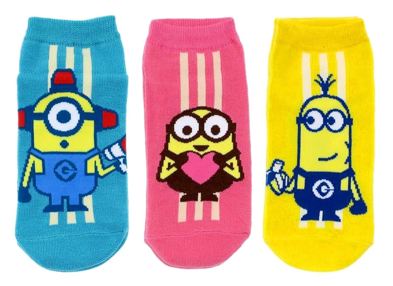 ミニオンズ レディースソックス ライン 3柄セット(バナナ イエロー?ハート ピンク?メガホン ブルー) 女性用靴下