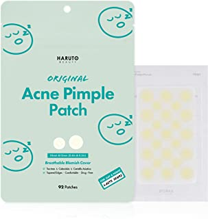 Haruto Original Acne Pimple Patch - 92 patches, Tea Tree, Calendula, Cica (Centella Asiatica), Hydrocolloid Pimple Patch