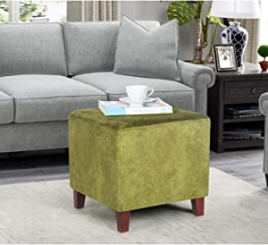 Homebeez Square Ottoman Footrest Stool, Small Fabric Bench Shoe Dressing Seat, Accent Furniture for Living Room (Auqamarine)