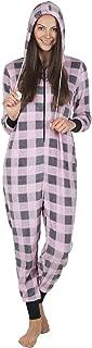 Totally Pink Plush Buffalo Plaid Adult Onesie Women One Piece Novelty Pajamas