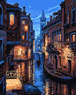 """Painting by Numbers DIY Acrylic Oil Painting Kit for Kids & Adults 16"""" x 20""""Venice Night Pattern with 3 Brushes & Bright Colors (Color4)"""