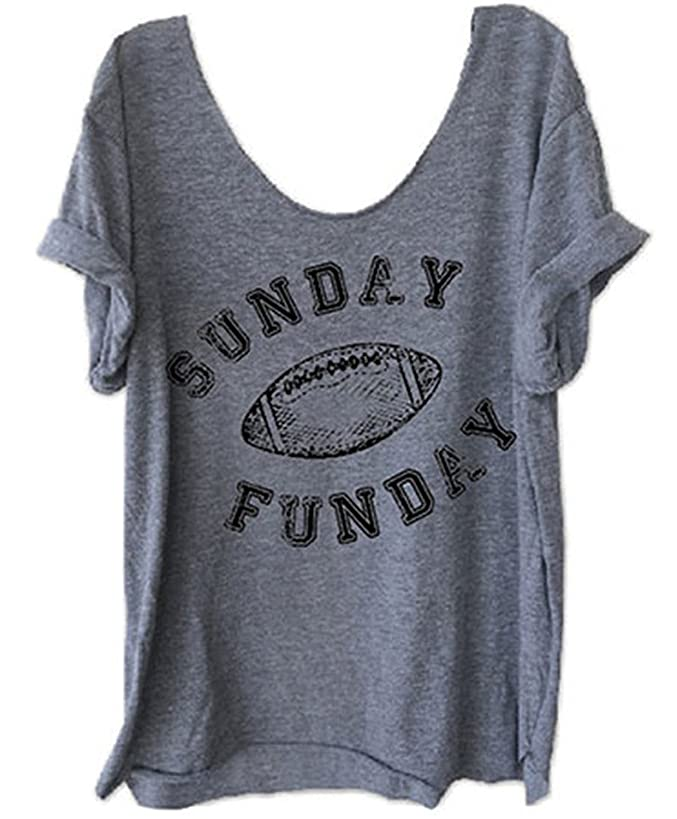 Women Funny Letter Printed Off Shoulder Sunday Funday Football T-Shirt Casual Short Sleeve Blouse