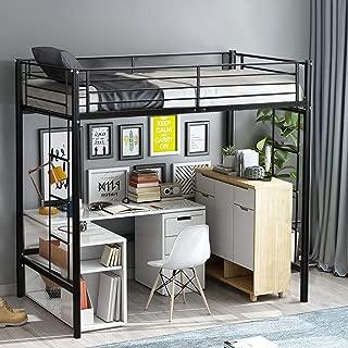Twin Loft Bed Metal Bunk Ladder Beds Boys Girls Teens Kids Bedroom Dorm Black