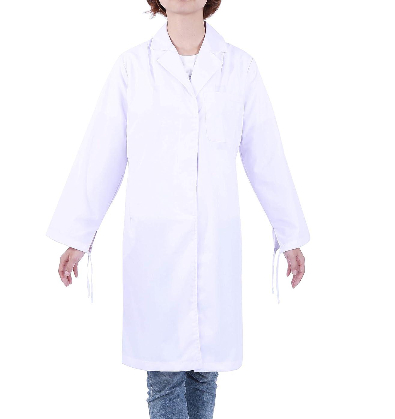 気楽な崇拝する反逆LIFE&HOPE 白衣 実験用 女性ドクター レディース用 医師診察衣 研究用白衣 ホワイト 長袖 シングルボタン 両脇ポケット付き (S)