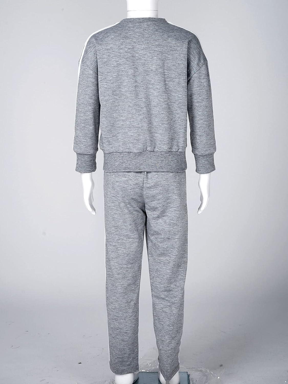 Yeahdor Unisex Kids Children Long Sleeve Sweatshirts and Joggers Pants 2 Piece Sweatsuits Casual Clothes Set