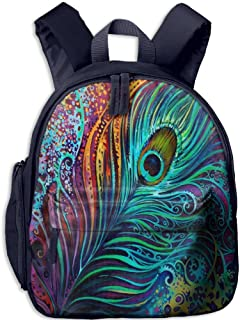Children Pre School Backpack Boy&girl's Peacock Feathers Boho Color Book Bag