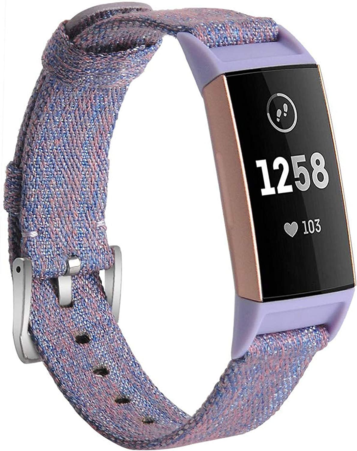 hooroor Canvas Woven Band Compatible for Fitbit Charge 4 / Charge 3 Bands and Charge 3 SE Band, Soft Breathable Fabric Cloth Replacement Wristbands Sports Accessories Small Large for Women Men