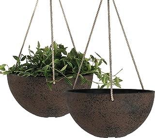 LA JOLIE MUSE Hanging Planters, Flower Pots Indoor & Outdoor, 10 Inch Garden Planters, New Iron Color, Set of 2