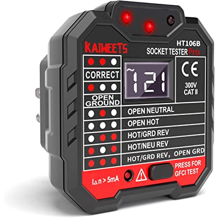 Faulty//incorrect wiring CATII 250v Professional Use Ring Main Socket Tester