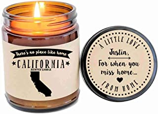 California Scented Candle Missing Home Homesick Gift Moving Gift New Home Gift No Place Like Home State Candle Custom Candle Valentines Day Gift