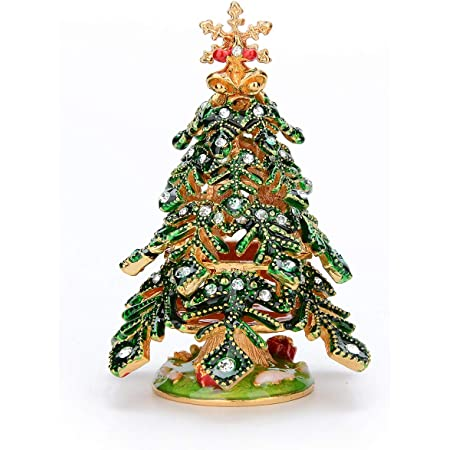 Best Ornament Your Collection QIFU Hand Painted Christmas Tree Crystal Hinged Jewelry Trinket Box Unique Gift Home Decor
