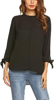 Zeagoo Women 3 4 Sleeve Loose Casual Chiffon Blouse High Low Top Shirts