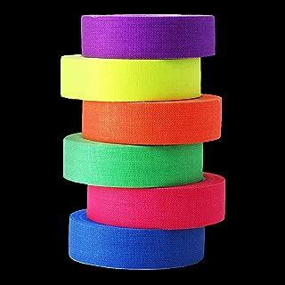 UV Blacklight Reactive Tape, 6 Pack 0.59 Inch x 16.4 Feet PER Color, Fluorescent Cloth Tape, Luminous Tape
