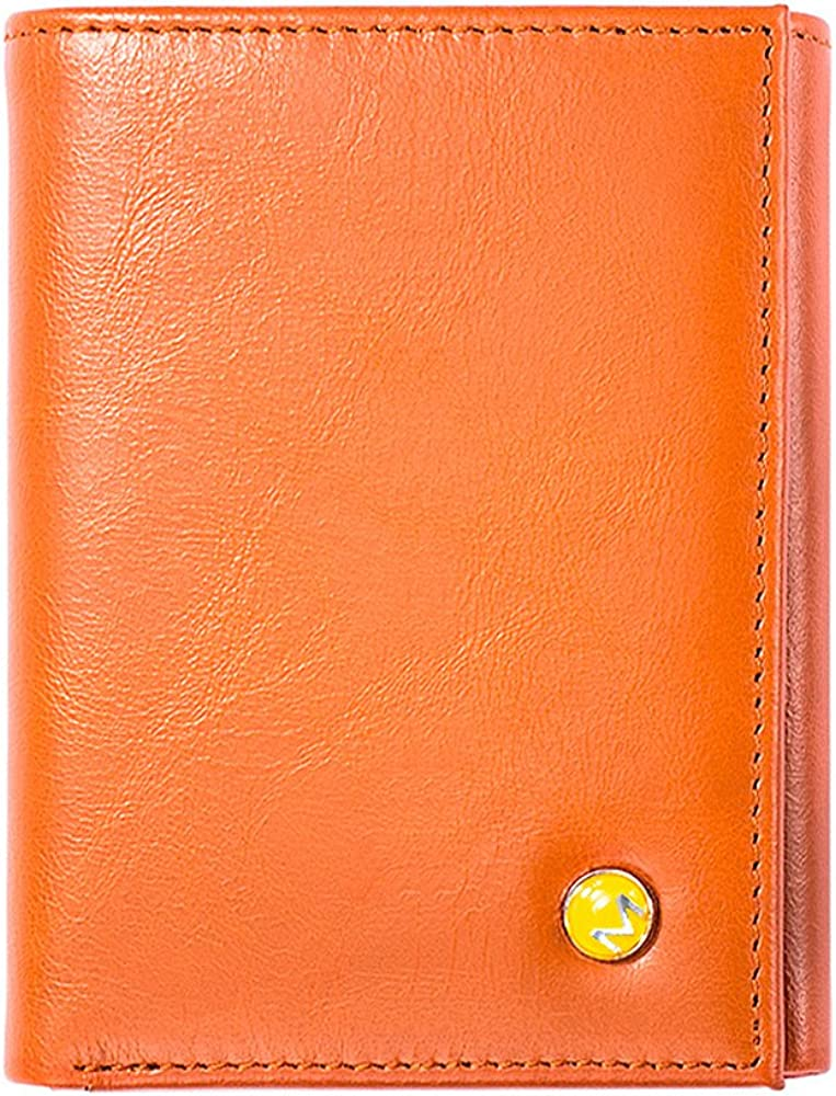 OMcolor Trifold Leather Wallet for Men RFID Blocking Wallet with ID Window