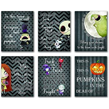 "Cartoons Halloween Theme Will Brush Teeth Take A Bath Wash Hands Bathroom Art Prints Set of 6 (8""X10"" Canvas Picture) Before Xmas Night Kid Halloween Jack Decor Gifts Boys Room Decor Frameless"