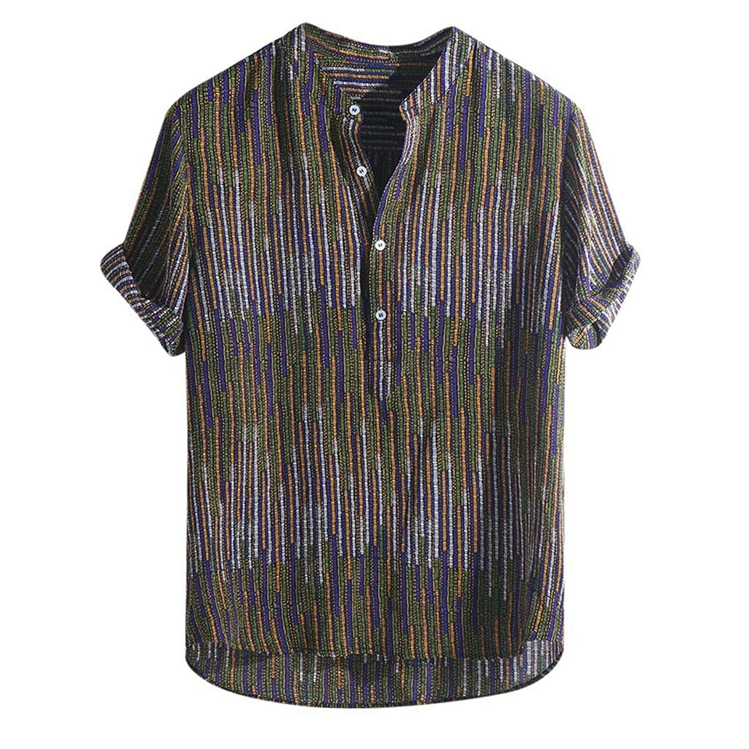 Xiarookp Men's Short Sleeve Shirt Fashion Ethnic Printed Stand Collar Henley T-Shirts Top Blouses