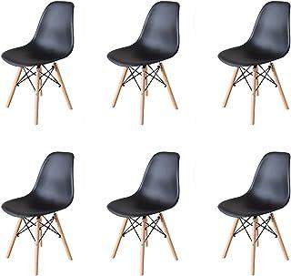 GrandCA Home Ensemble de 6 chaises, Design Bois Chaise de Salle à Manger, Chaise de Bureau, Chaise de Salon (Noir-6)
