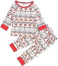 iLOOSKR Christmas Toddler Kids Baby Girls Boys Winter Warm Christmas Print Tops Pants Outfits Pajamas Clothes