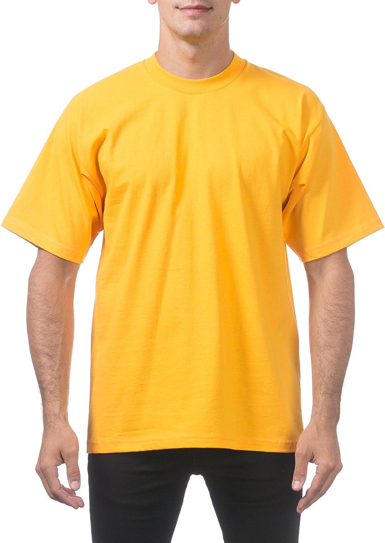 Pro Club Men's Heavyweight Cotton Short Sleeve Crew Neck T-Shirt, 5XL - Tall, Gold