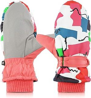 BIERDORF Kids Mittens,Waterproof Non-Slip Plus Velvet Kids Winter Gloves (6-12 Years)
