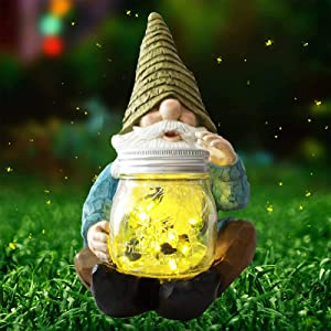 Vcdsoy Solar Garden Gnome Statues - Resin Firefly Jar Gnomes Decor Figurines Funny Yard Gnome Waterproof for Outside Decoration Patio Lawn Chritsmas