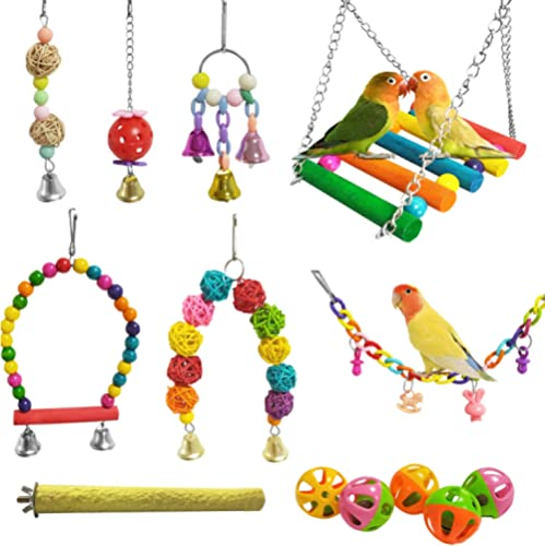 E-KOMG 13 Packs Bird Swing Toys,Parrot Chewing Hanging Perches with Bell,Pet Birds Cage Toys Suitable for Small Parak...