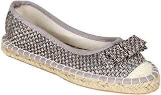 Qupid Women Weaved Linen Cap Toe Bow Tie Espadrille Slip On Flat CB50 - Silver