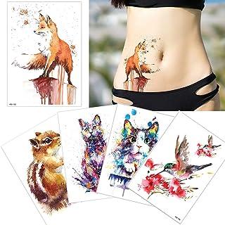 5 Sheets Watercolor Drawing Animal Body Tattoo Temporary Leg Back Art Sticker DIY