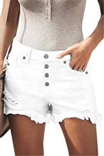 BETTE BOUTIK Women's Denim Shorts Frayed Raw Hem Ripped Jean Shorts Casual Summer Shorts