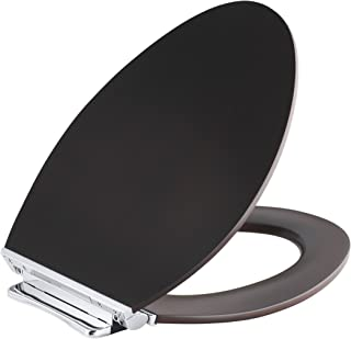 KOHLER K-4761-CP-DAW Avantis Quiet-Close Elongated Toilet Seat with Quick-Release Polished Chrome Metal Hinges, Dark Antique Walnut
