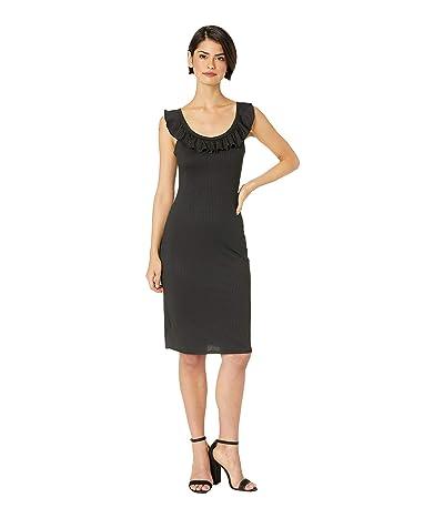 BCBGeneration Cocktail Lettuce Edge Midi Knit Dress (Black) Women
