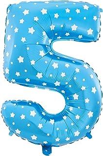 MC-Globo Gigante Número 5 DE Foil Color Azul con Estrella para Fiestas de Cumpleaños 65cm