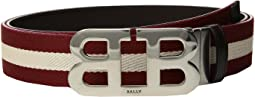 Bally - Mirror B Buckle Bally Stripe Canvas and Leather Belt