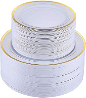 FOCUS LINE 120 PCS Plastic Party Plates White Gold Rim, Disposable Heavey Weight Plates for Wedding, 60 Heavy Duty 10.25 Inch Dinner Plates and 60 Disposable 7.5 Inch Dessert Plates