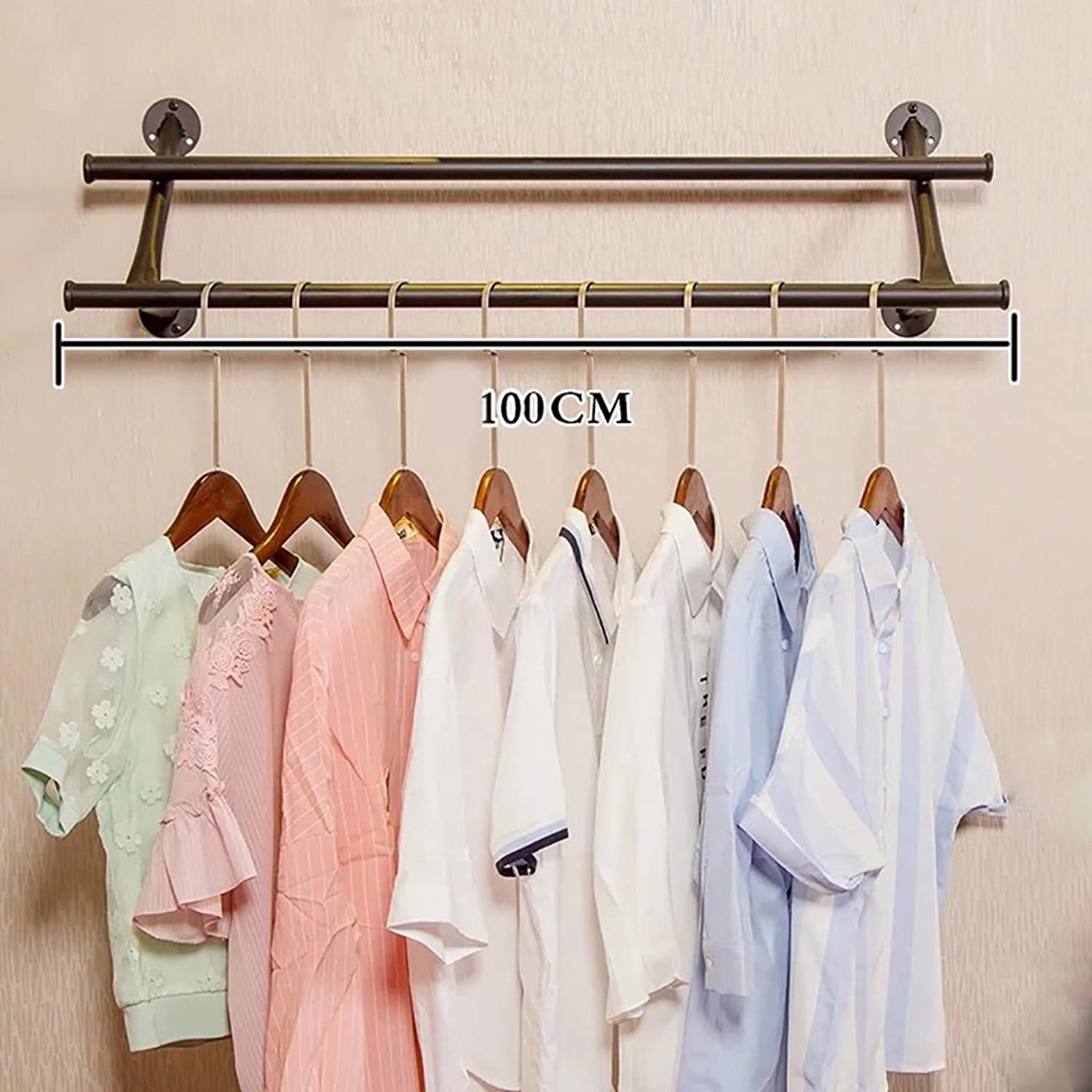 Coat Racks Clothing Store Clothing Display Stand Retro Iron Wall Mounted Side-Mounted Hanging Racks Hanging Racks Shelves Racks (Size   100CM)